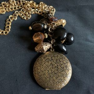 Large Brass Engraved Floral Round Locket Pendant